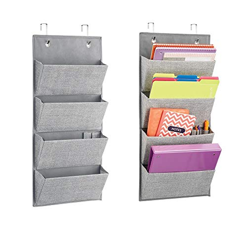 mDesign Soft Fabric Wall Mount/Over Door Hanging Storage Organizer - 4 Large Cascading Pockets - Holds Office Supplies, Planners, File Folders, Notebooks - Textured Print, 2 Pack - Gray
