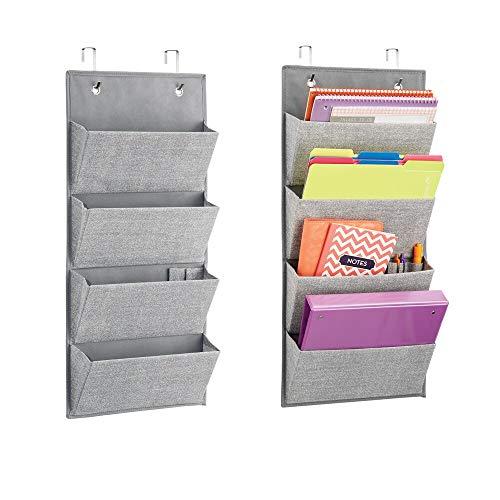 mDesign 2er-Set Hängeorganizer in Jute-Muster (grau) – große Schrank-Organizer aus atmungsaktivem Polypropylen – Stofftaschen zum Hängen über die Tür oder zur Wandmontage