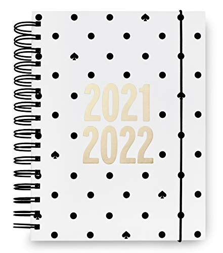 Kate Spade New York Large Hardcover 2021-2022 Planner Weekly & Monthly, 17 Month Daily Diary Dated Aug 2021 - Dec 2022 with Stickers, Pocket, Tab Dividers, Notes/Holiday Pages, Black Spade Dot
