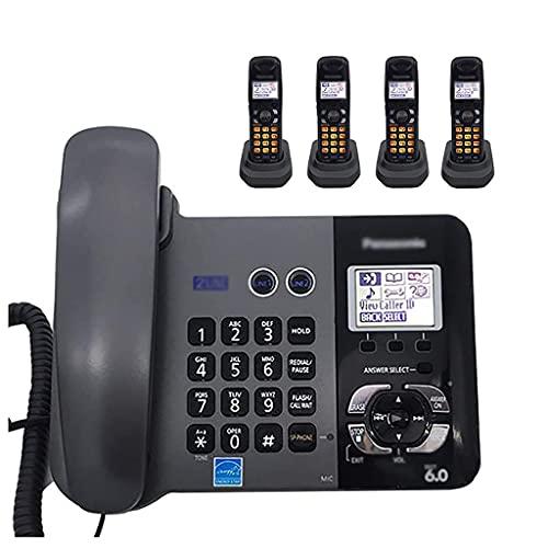 Teléfono inalámbrico Digital/teléfono de Escritorio con Cable, Sistema FSK, configuración en inglés/español, Llamada tripartita e identificador de Llamadas (Color: B, tamaño: 1 a 4)