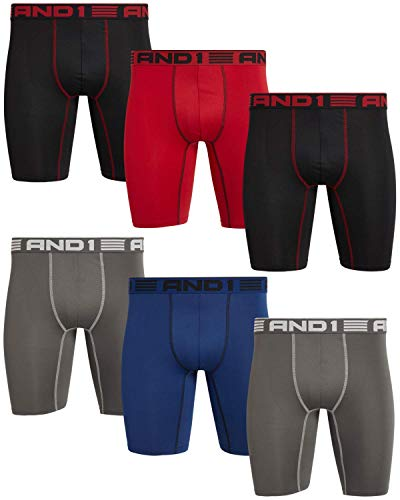 AND1 Men's Compression Long Leg Performance Boxer Briefs (6 Pack), Size Large, Black/Blue/Charcoal/Red