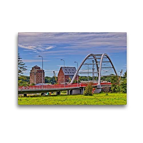 Calvendo Premium lienzo 45 cm x 30 cm horizontal, el nuevo puente del puerto del Kolberger Yachthafen, imagen sobre bastidor, listo sobre lienzo, lienzo, lugares