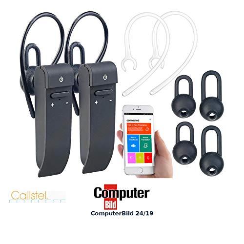 Callstel Sprach-Übersetzer: 2er-Set 2in1-Live-Übersetzer & In-Ear-Mono-Headset, Bluetooth, App (Sprechender Übersetzer)