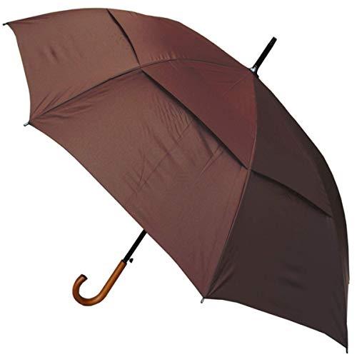 COLLAR AND CUFFS LONDON - Windproof 134 cm Bogen - Holzgriff - SEHR STARK - Verstärkt mit Fiberglas - StormDefender City - Ventilationsbezug - Automatik Stockschirm - Regenschirm - Braun