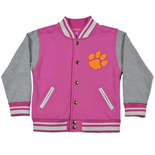 Clemson Tigers Toddler Kids Pink Varsity Letterman Jacket (5/6T)