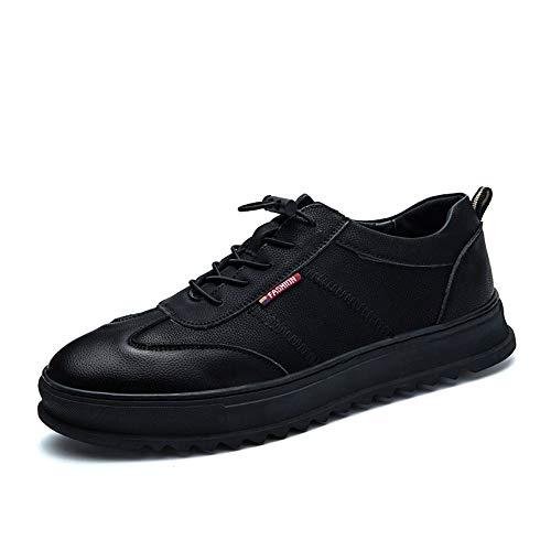 DADIJIER Zapatillas de Deporte para Correr para Hombres, de Cuero de PU, Transpirables, Plataforma, Zapatos de Tablero Low Top Antideslizante Punta Redonda con Cordones Anti Desgaste