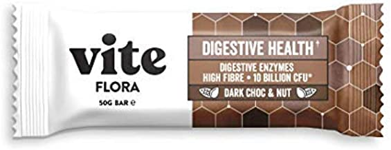 Vite Flora Bar – Healthy Snack Bars with Prebiotics and Probiotic Live Cultures to aid Digestive Health – All Natural – 12 x 50G Dark Choc Nut Estimated Price : £ 25,00