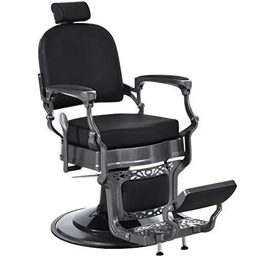 BarberPub Heavy Duty Vintage Barber Chair All Purpose Hydraulic Recline Salon Beauty Spa Equipment 3850 (Black)