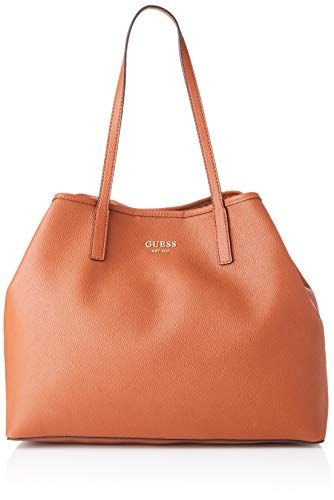 Guess Women's Vikky Large Tote Shoulder Bag, White (Cognac), One Size UK