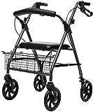 Rollator Walker, 4 ruedas de ruedas médico con cuatro ruedas carrito de compras de viejo hombre, plegable, carga máxima de 100 kg (color predeterminado)