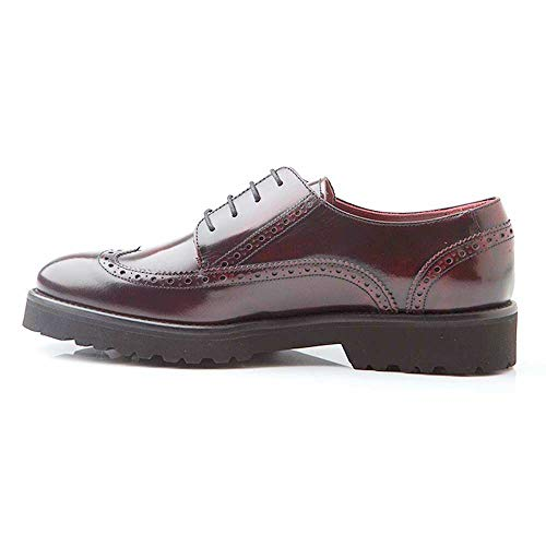 Beatnik Shoes Zapatos de Cordones Estilo Oxford Blucher Rojos de Mujer en Piel Beatnik Ethel Red Brogue