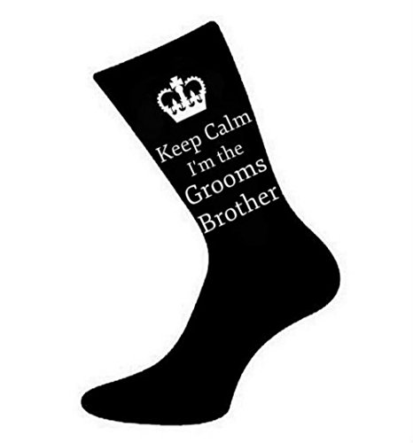Oaktree Gifts Herren Socken Keep Calm I'm The Grooms Brother, Schwarz