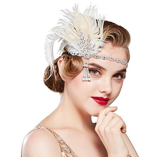 BABEYOND 1920s Flapper Headband Feather Headpiece Roaring 20s Gatsby Hair Accessories for Women (Beige)