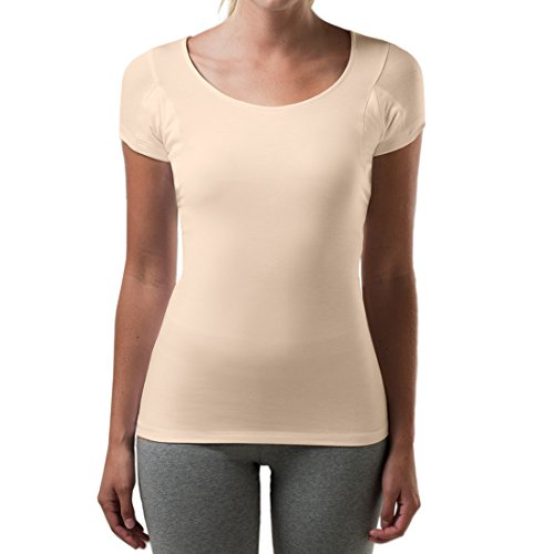 T THOMPSON TEE Sweatproof Undershirt for Women with Underarm Sweat Pads (Slim Fit, Scoop Neck) Beige
