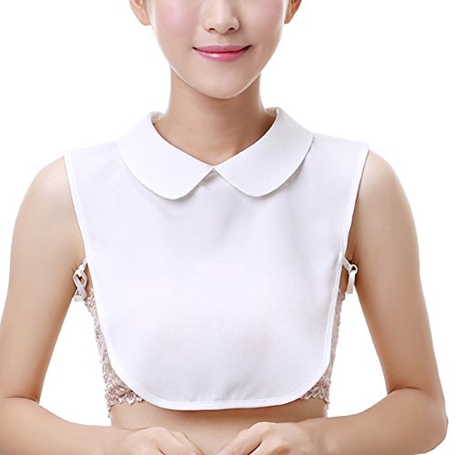 YAKEFJ Lady Half-Shirt Blouse Detachable Lace Chiffon Fake Collars Dicky Collar Faux Collar (06WHITE)