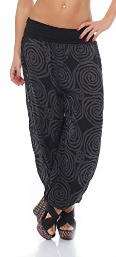 Malito Donna Pantaloni Disegno Spirale Aladin Harem Pantaloni Pump Baggy Yoga 1718 (Nero)