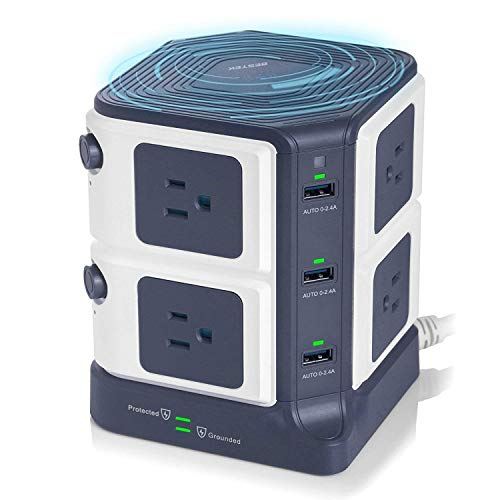 USB Power Strip with Wireless Charger BESTEK 8-Outlet Surge Protector and 40W 6-Port USB Charging...
