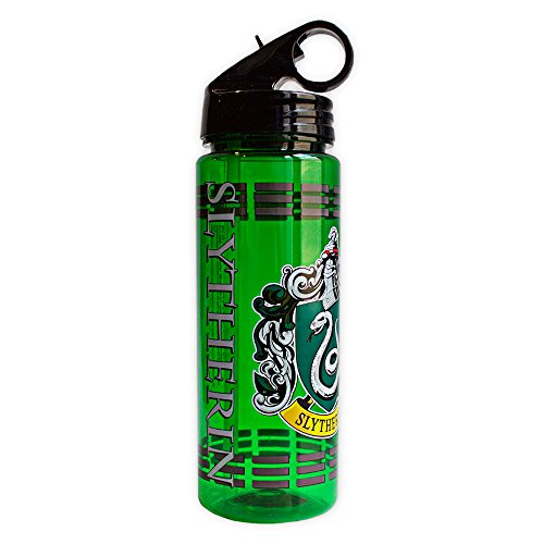 Silver Buffalo Warner Brothers Harry Potter Movie 1-8 Slytherin Crest with Dashes Tritan Water Bottle, 20-Ounces