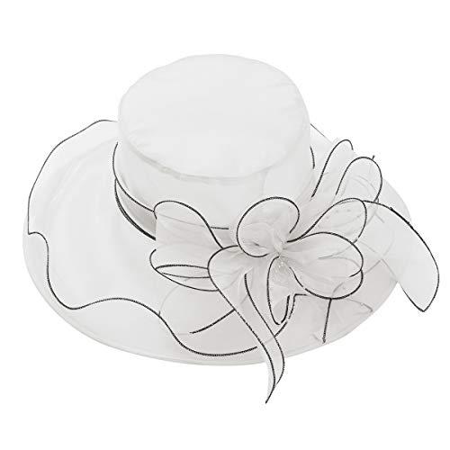 Iglesia de Derby para Mujeres Sombrero de PAPY Boda Tea Party Dome Hat Sombrero de Lado Ancho Sombrero para el Sol Sombrero Elegante de Fiesta