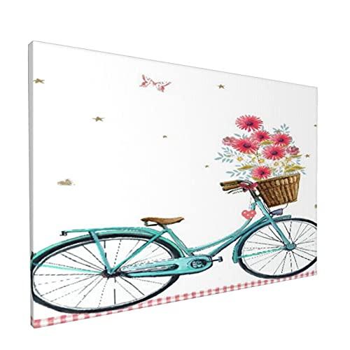 Impresiones de arte de pared,Bicicleta Azul Flor Floral Mariposa, Pintura moderna enmarcada...