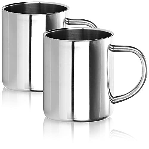 Robin Goods® 2X Edelstahl-Thermobecher Set - ca. 280 ml je Kaffeetasse - Thermo-Trinkbecher aus Edelstahl - Kaffeepott bruchsicher - doppelwandige Isolierbecher (Edelstahl - 02 Stück - 280ml)