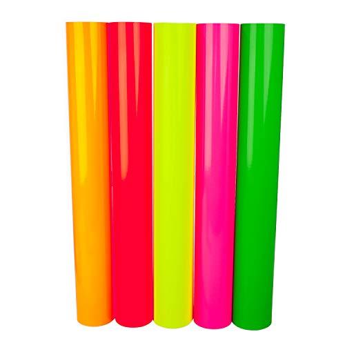 D003 Plotterfolien DIN A4 Neon Vinylfolie Oracal 6510 Fluorescent Cast Perfekt zum Plotten Bastelfolie Klebefolien selbstklebend (Neon Komplett Set, 5x DIN A4)