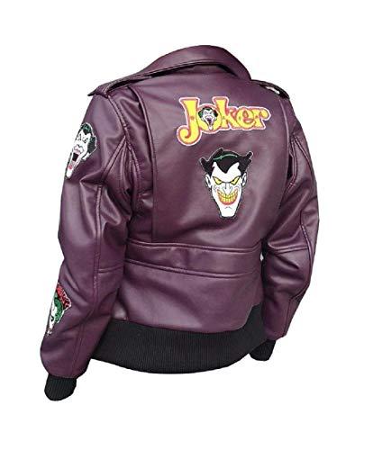 Fashion_First Mädchen A2 Fliegerjacke HQ Joker inspiriert Cosplay Lila Bomber Lederjacke Gr. X-Small, violett