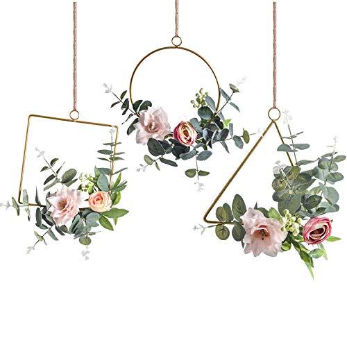 Pauwer Deko Kranz 3er Set mit Metall Ringe Hoop Künstliche Rose Eukalyptus Wandkranz Türkranz Für Outdoor Hochzeiten Zuhause
