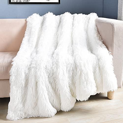 ARKEY Zotteldecke aus Kunstfell, weich, lang, warm, elegant, gemütlich, flauschig, als Tagesdecke geeignet, Fleece, weiß, 200 x 230 cm, 1