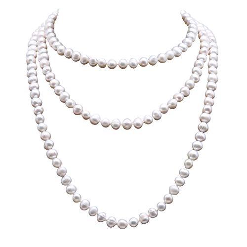 JYX - Collar largo de perlas de agua dulce redondas de 8,5 – 9,5 mm, color blanco