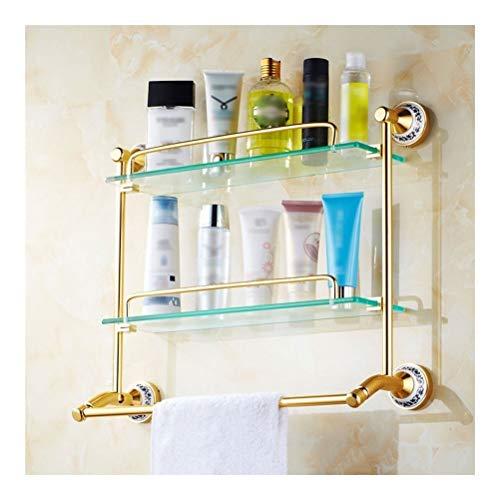 ZhanMaGS Estante de baño doble flotante estantes de vidrio estante de ducha Caddies estante de vidrio templado, 50 cm de ancho dorado accesorios de baño 1010