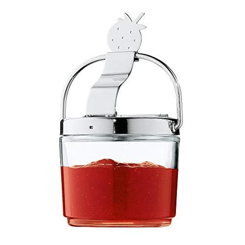 WMF Farm Marmeladedose mit Klappdeckel, Erdbeeren-Symbol, Ø 8,8 cm, Frischhaltesystem, Glas, Cromargan Edelstahl, spülmaschinengeeignet