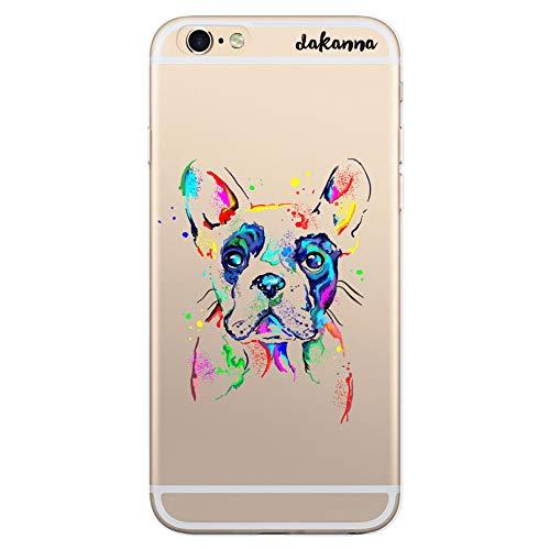 dakanna Funda Compatible con [iPhone 6 Plus - 6S Plus] de Silicona Flexible, Dibujo Diseño [Perro Bulldog Frances Watercolor], Color [Fondo Transparente] Carcasa Case Cover de Gel TPU para Sma