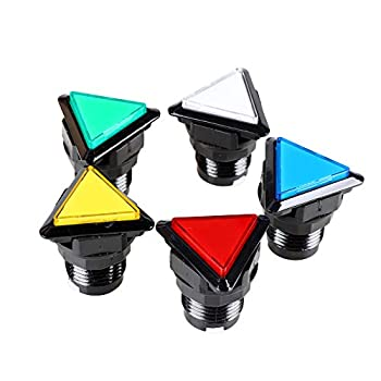 EG STARTS 5X Arcade Buttons Triangle LED Illuminated Push Button Switch for Arcade Coin Machine Operated Games