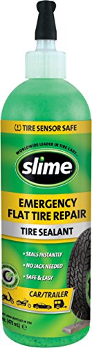 Slime 10011 Flat Tire Puncture Repair Sealant, Emergency Repair for Highway Vehicles, Suitable for Cars/Trailers, Non-Toxic, eco-Friendly, 16 oz Bottle