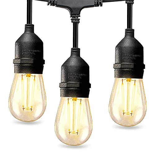 LED Outdoor String Lights 48FT 2W Dimmable Edison Vintage Bulbs and Commercial Grade Patio Lights - UL Listed Weatherproof Strand 15 Hanging Sockets for Porch Bistro Garden Backyard