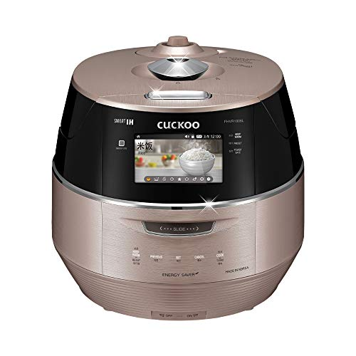 Cuckoo CRP-FHVR1008L 10 Cup Induction Heating Pressure Rice Cooker – 18+ Built-in Programs Including Glutinous, GABA, Baking, My Recipe and More, LED Screen, Korean Only, No English, C, Pink Gold