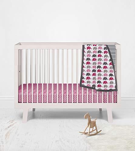 Bacati - Elephant, Pink/Fuchsia/Grey, 3 Piece Girls Nursery Mini or Portable Crib Bedding Set with Comforter, 2 Fitted Mini Crib Sheets, Pink, Fuchsia, Grey, White, Charcoal