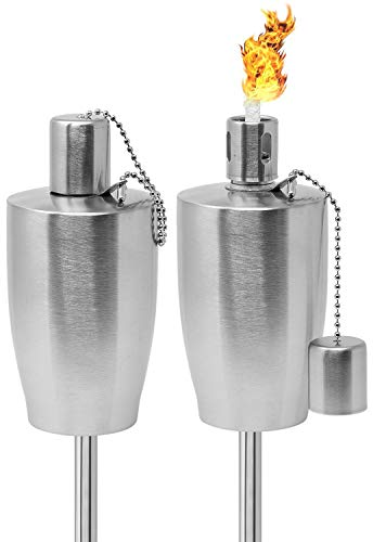 Matney Stainless Steel Torches – 5 ft Outdoor Oil Torch Lamp for Citronella - Garden, Lawn, Backyard Parties – Includes Fiberglass Wick and Snuffer Cap - Set of 2 (Silver Torch Set – Barrel)