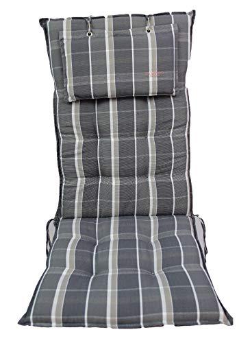 Sun Garden Hochlehnerauflagen Monte mit Kopfpolster Maße: ca. 119x50x8cm - Dessin 10557-700 Farbe: Grau/Beige gestreift