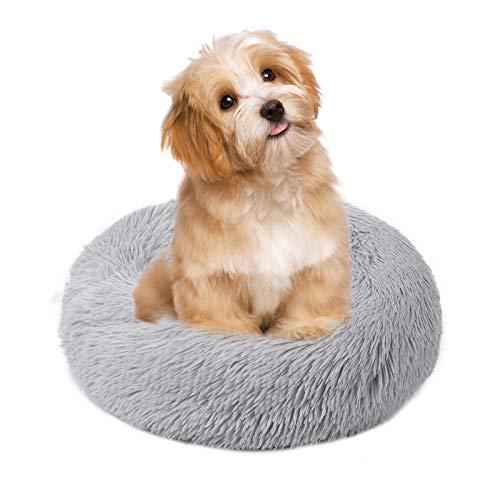 Cama para mascotas Decdeal, cama para perros, gatos, cama redonda de peluche, sofá para perros, sofá para gatos, cojín en forma de abeto, gris, pequeño