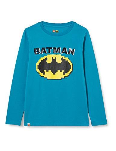 LEGO Jungen MW-Langarmshirt Wendepailletten Batman T-Shirt, 763 Sea Turquise, 140