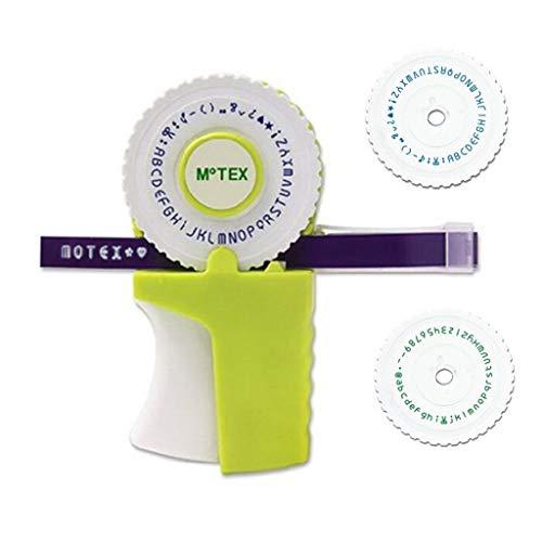Draagbare etiketteermachine DIY handetikettenprinter mini hand decoratielint handschrijfmachine met een rol zwart plakband met 2 wijzerbladen groen