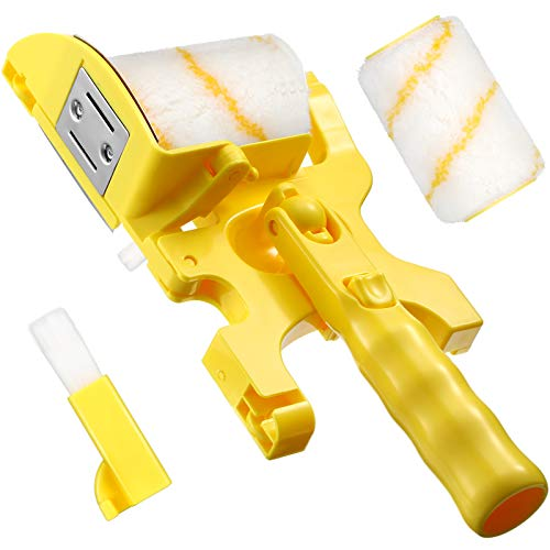 Paint Edger Roller Brush Multifunctional Hand-Held Clean-Cut Paint Edger Roller Brush Paint Edger Combo Kit with Extra 1 Replacement Roller 1 Brush for Home Room Wall Ceiling Indoor Outdoor Painting