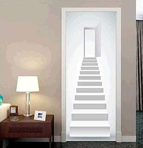 EtiquetaDeLaPuerta Pegatinas De Puerta 3D Para Puertas Interiores Pegatinas De Pared Autoadhesivas De Pvc Para Decoración Del Hogar 77 * 200 Cm Escaleras Blancas