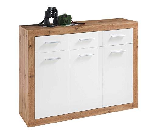 Sideboard Anrichte Mehrzweckschrank | Weiß Hochglanz | Wildeiche | 3 Türen | 3 Schubladen