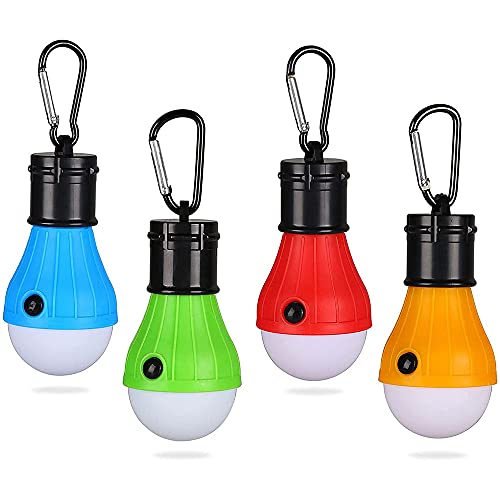 Tienda de luz LED, 4Pcs Linterna de Camping, LED Lámpara Camping, Impermeable Camping Luz de Emergencia, Bombilla Portátil Impermeable, para Camping, Falla de Energía, Pesca, Emergencia, Garaje