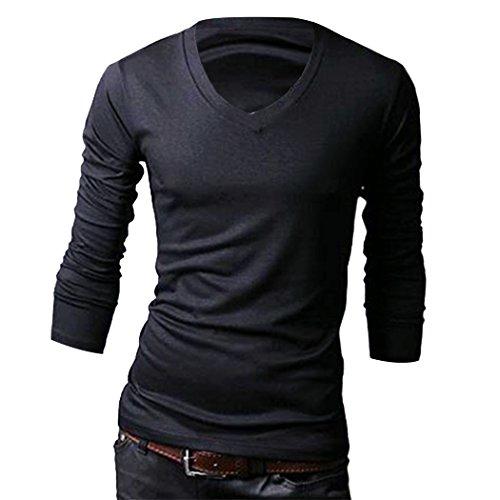 Aulei Männer Baumwolle Beiläufig V-Ausschnitt slim Fit Lange Ärmel T-Shirt Solide Tops Langarmshirt, schwarz, M