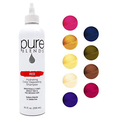 Pure Blends Red Hydrating Color Depositing Shampoo - Infused with Keratin & Collagen to Repair Dry & Damaged Hair - Eliminate Color Fade - Sulfate, Sodium Chloride, Paraben & Gluten-Free - 8.5 Oz