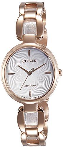 Orologio Donna Quarzo Citizen display Analogico cinturino Placcato in acciaio inox Oro e quadrante Argento EM0423-81A